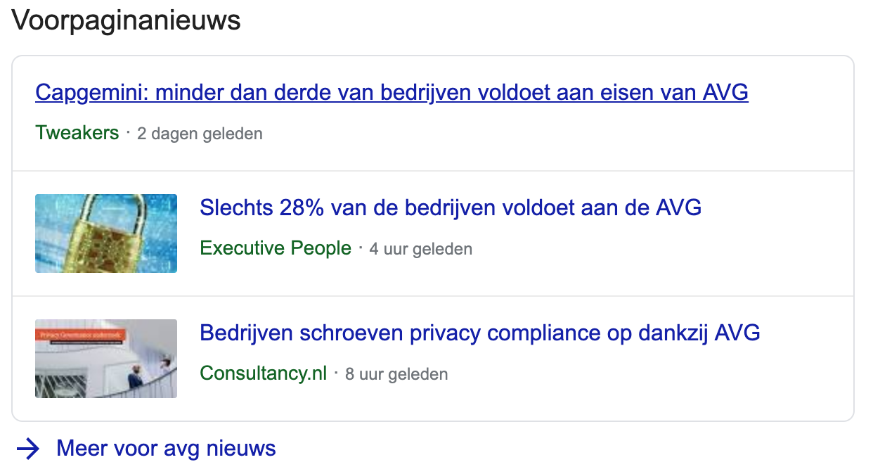 Structured data nieuws