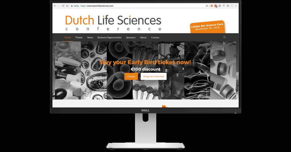 Desktop weergave conferentie website