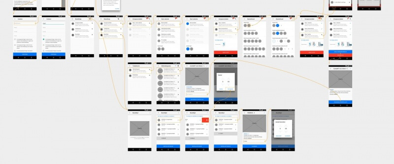 Wireframes van de Hager Vision bestelhulp app