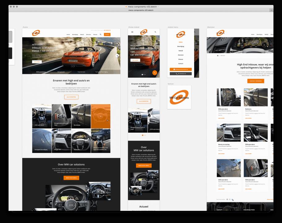 Grafisch ontwerp van automotive website