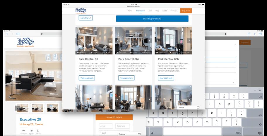 iPad weergave appartementen website