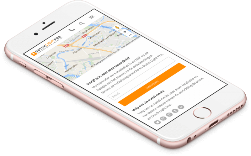 Dutch Light Pro website mobiele weergave