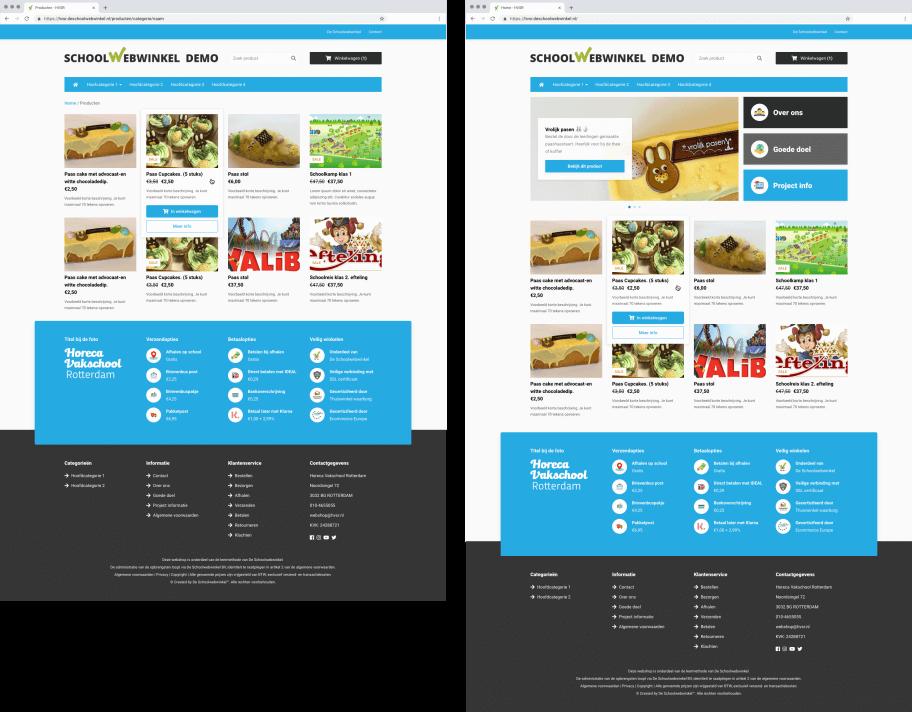Voorbeeld van een webshop gemaakt door leerlingen van het HVSR