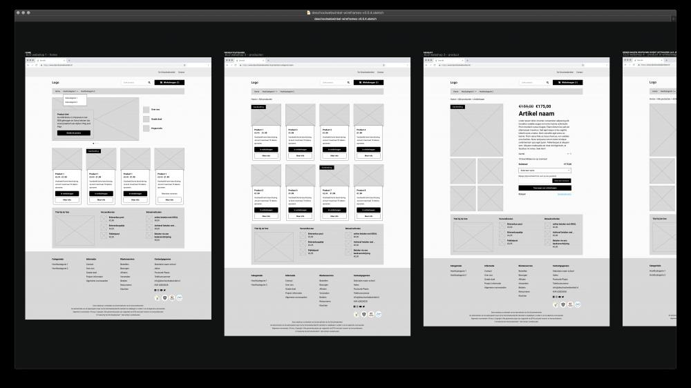 Wireframes van de webshop