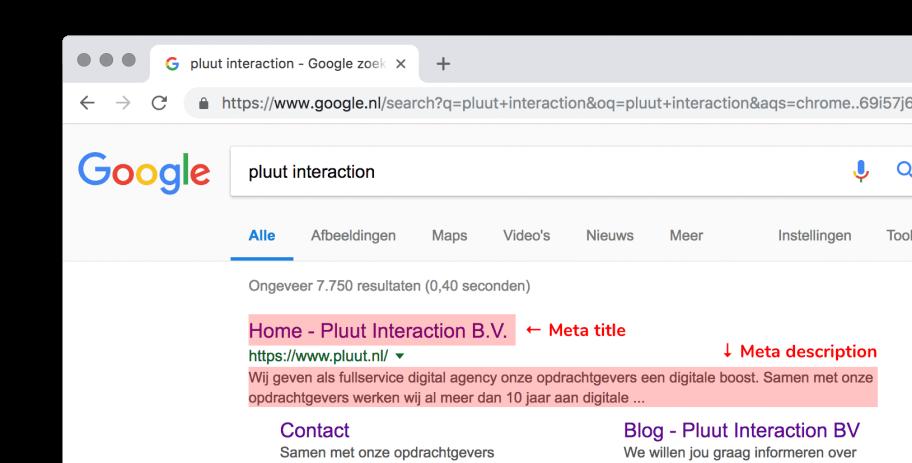 Voorbeeld van een meta title en meta description weergave in Google
