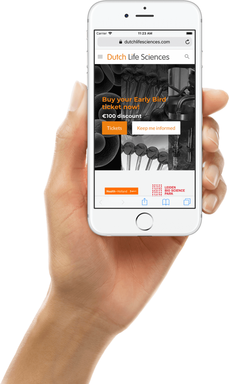 Mobiele weergave van Dutch Life Sciences website