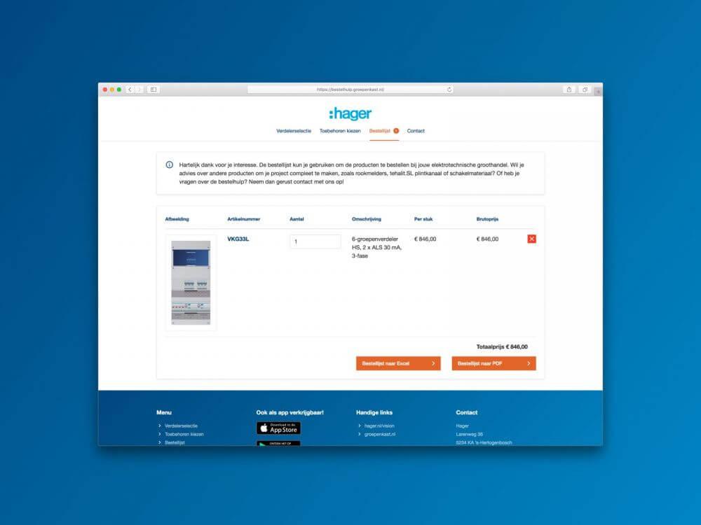 Mockup Hager Vision Bestelhulp app - Bestellijst overzicht
