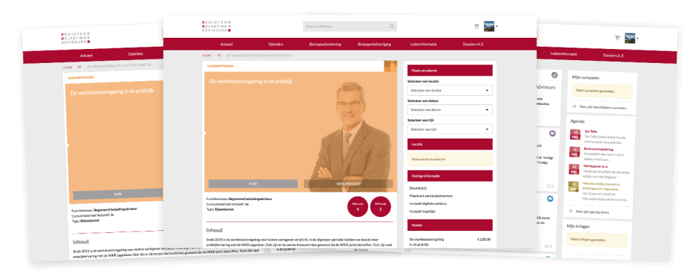Desktop weergave PE cursussen Register Belastingadviseurs