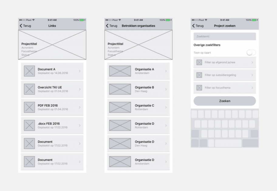Wireframes van de RVO apps