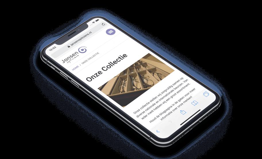 Weergave van de optiek website op een iPhone X