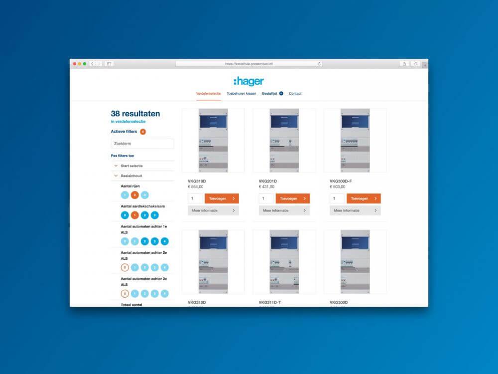 Mockup Hager Vision Bestelhulp app - Verdelerselectie met actieve stappen