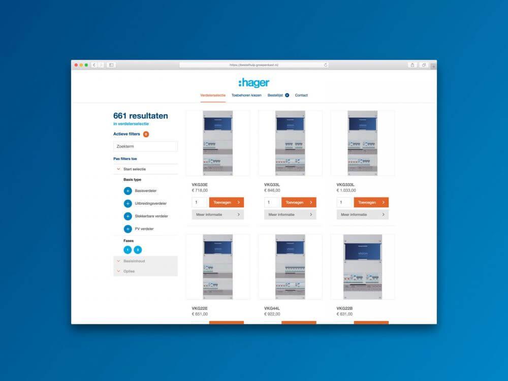 Mockup Hager Vision Bestelhulp app - Toebehoren kiezen